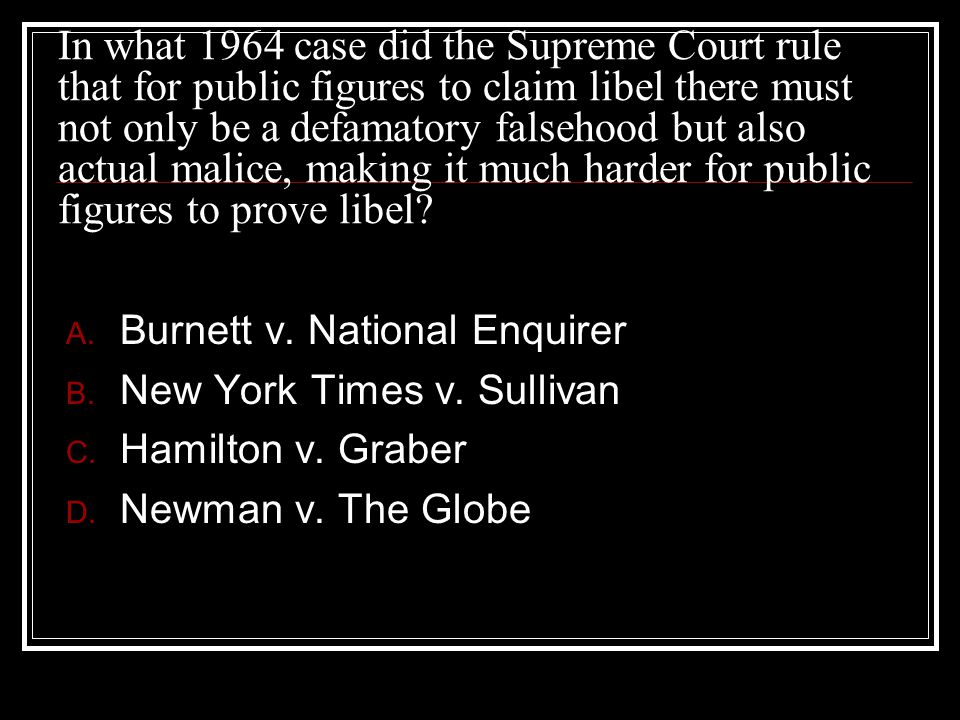 In what 1964 case did the Supreme Court rule that for public figures to claim libel there must not only be a defamatory falsehood but also actual malice, making it much harder for public figures to prove libel