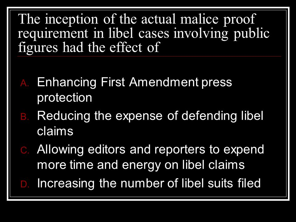 The inception of the actual malice proof requirement in libel cases involving public figures had the effect of