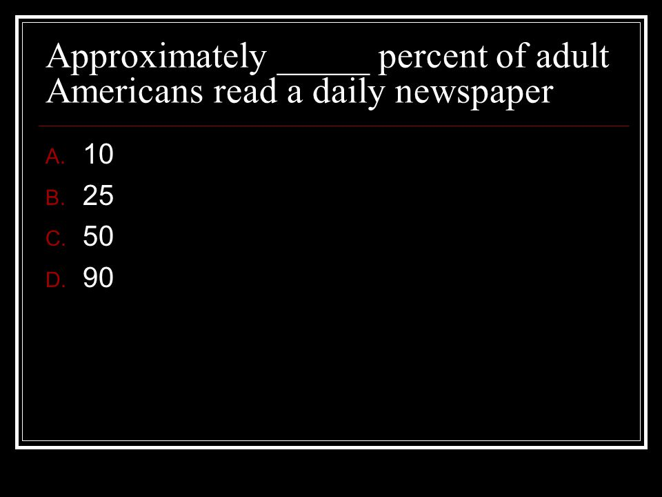 Approximately _____ percent of adult Americans read a daily newspaper