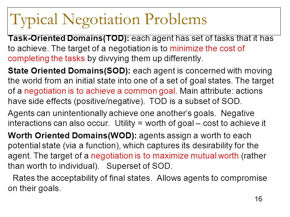 Typical Negotiation Problems