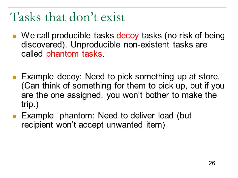 Tasks that don't exist We call producible tasks decoy tasks (no risk of being discovered). Unproducible non-existent tasks are called phantom tasks.