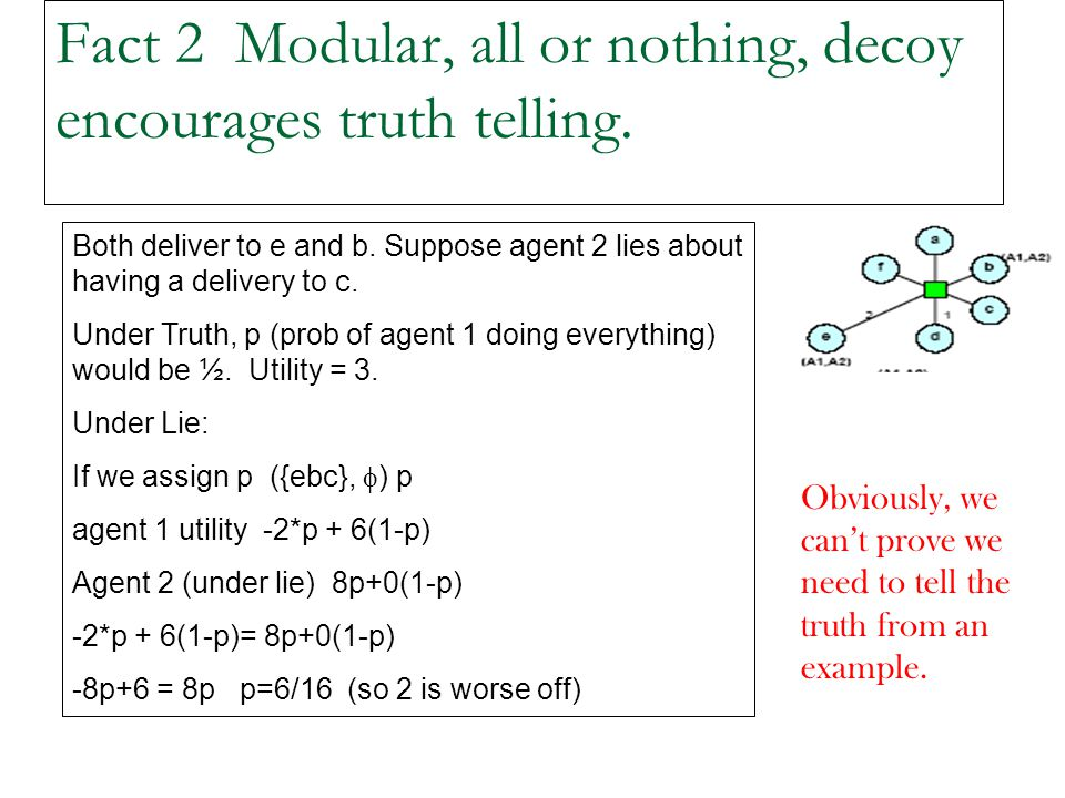 Fact 2 Modular, all or nothing, decoy encourages truth telling.