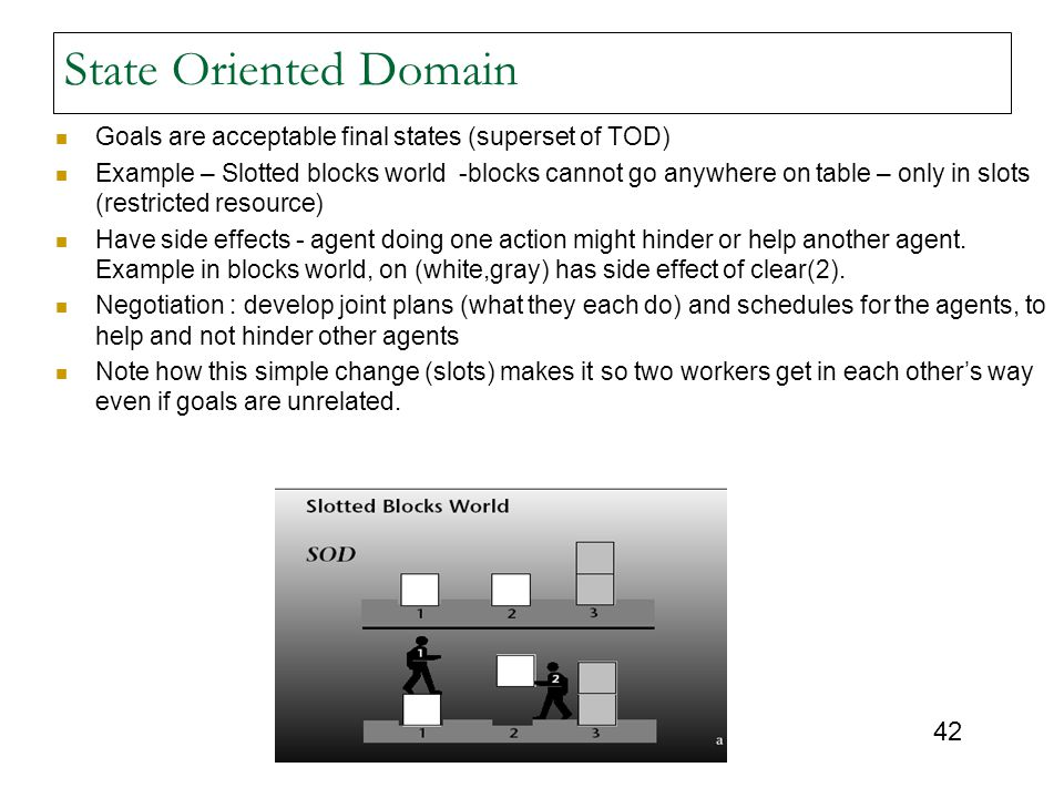 State Oriented Domain Goals are acceptable final states (superset of TOD)