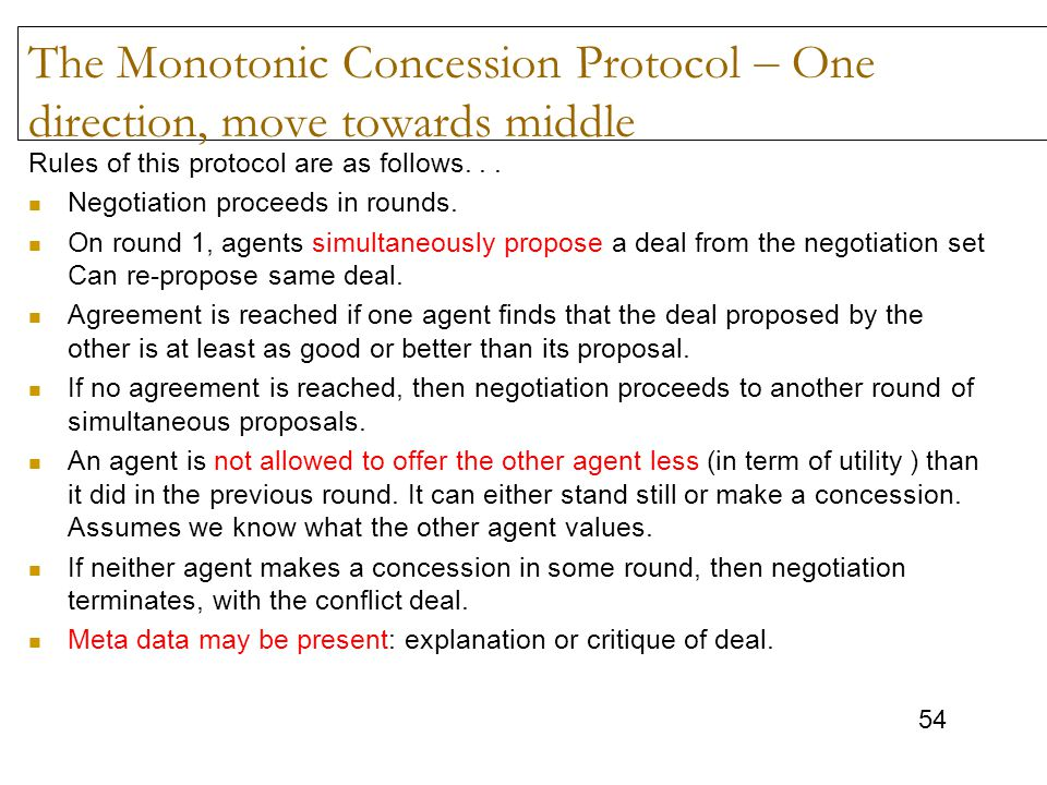 The Monotonic Concession Protocol – One direction, move towards middle