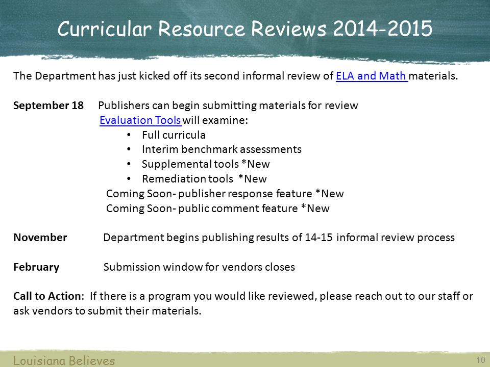 Curricular Resource Reviews 2014-2015