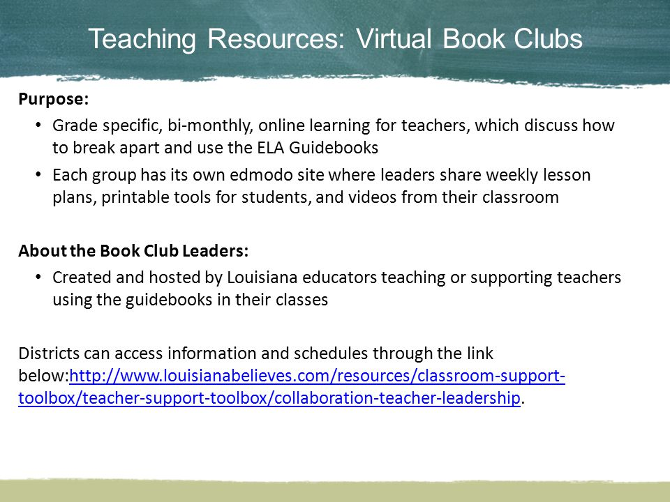 Teaching Resources: Virtual Book Clubs
