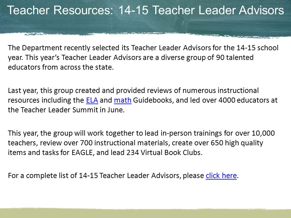 Teacher Resources: 14-15 Teacher Leader Advisors