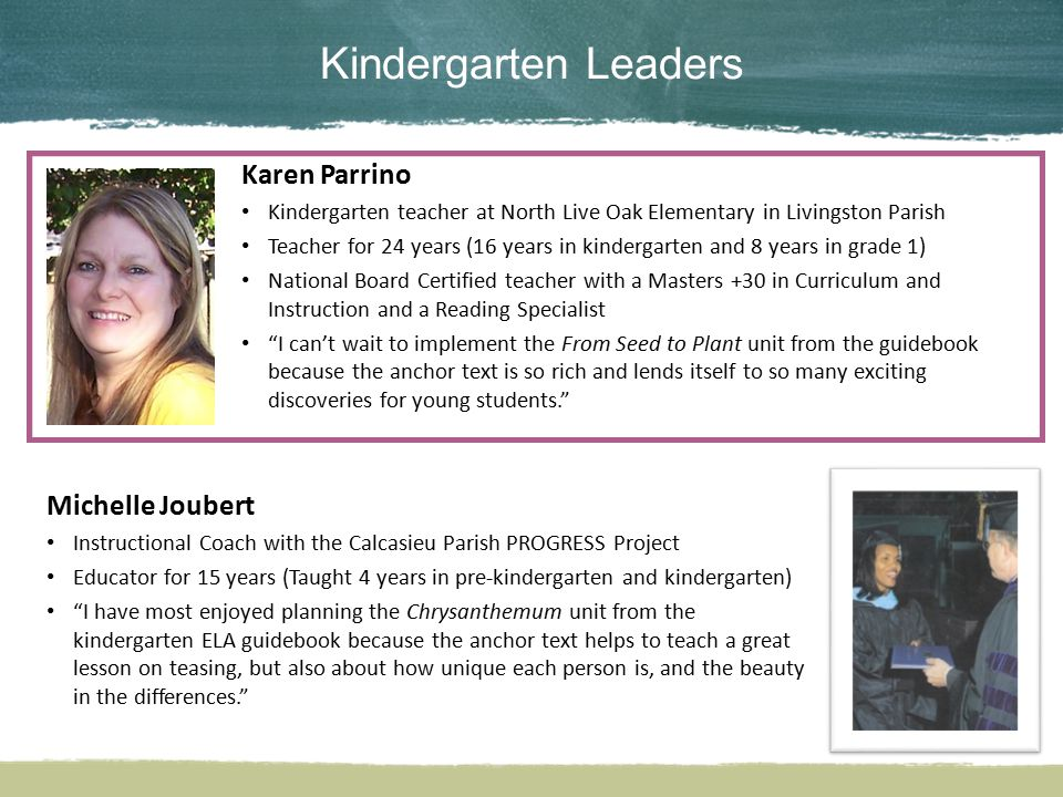 Kindergarten Leaders Karen Parrino Michelle Joubert