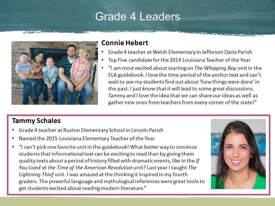 Grade 4 Leaders Connie Hebert Tammy Schales