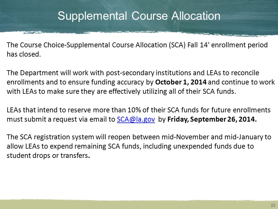 Supplemental Course Allocation