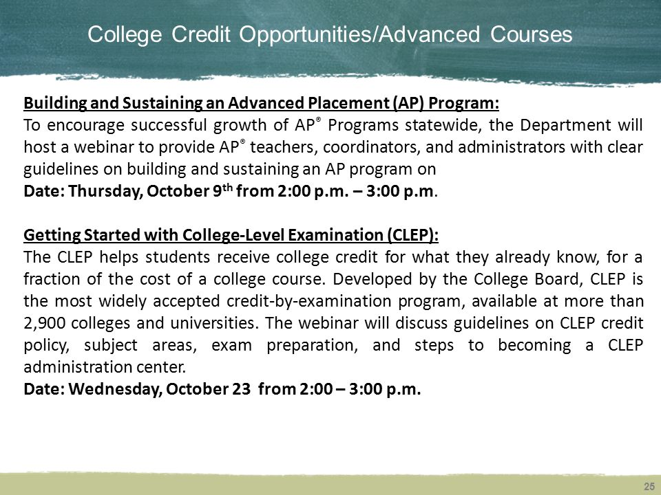 College Credit Opportunities/Advanced Courses