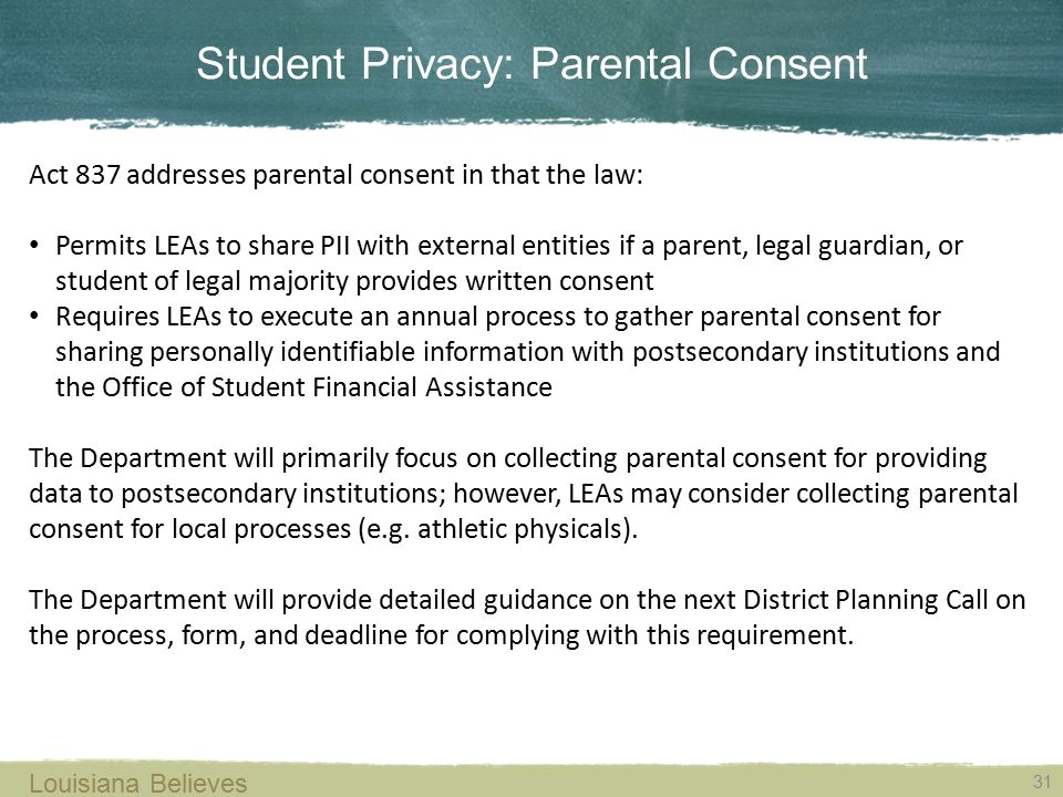 Student Privacy: Parental Consent