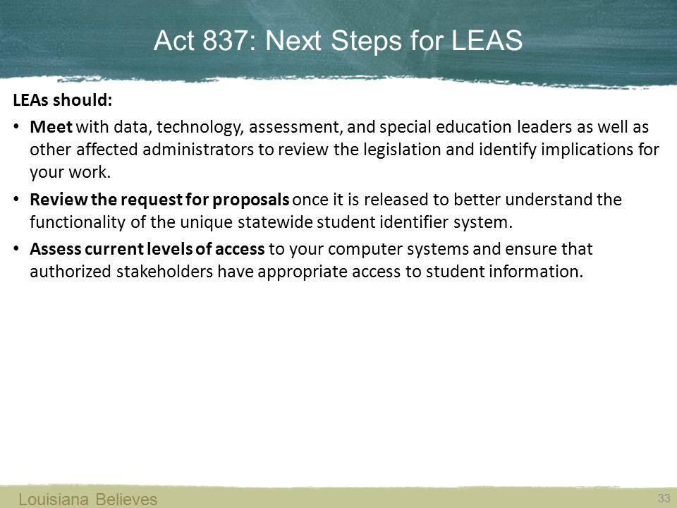 Act 837: Next Steps for LEAS
