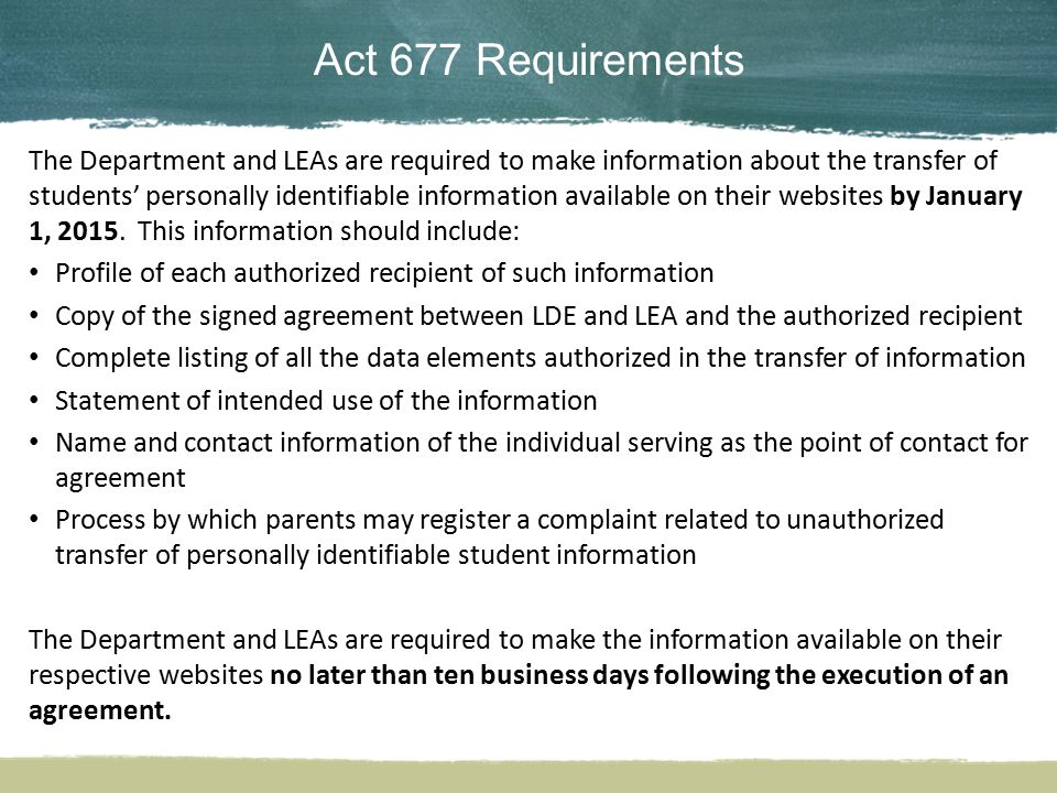 Act 677 Requirements