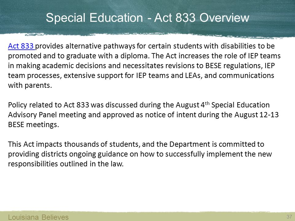 Special Education - Act 833 Overview