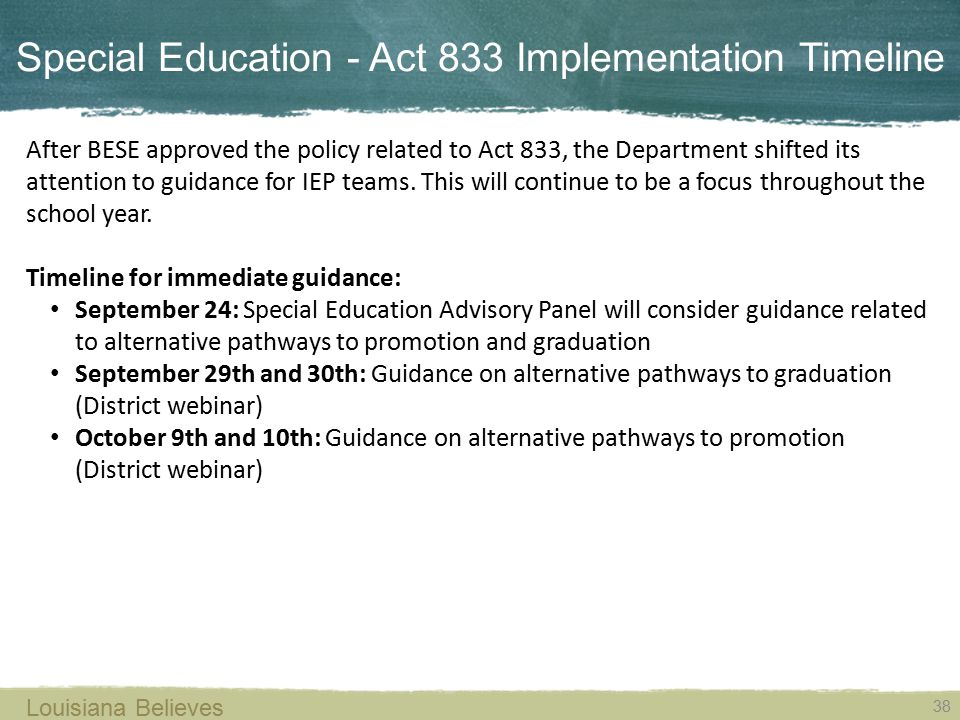 Special Education - Act 833 Implementation Timeline