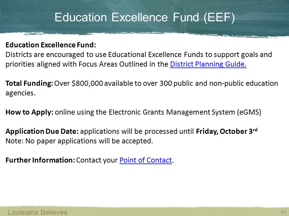 Education Excellence Fund (EEF)