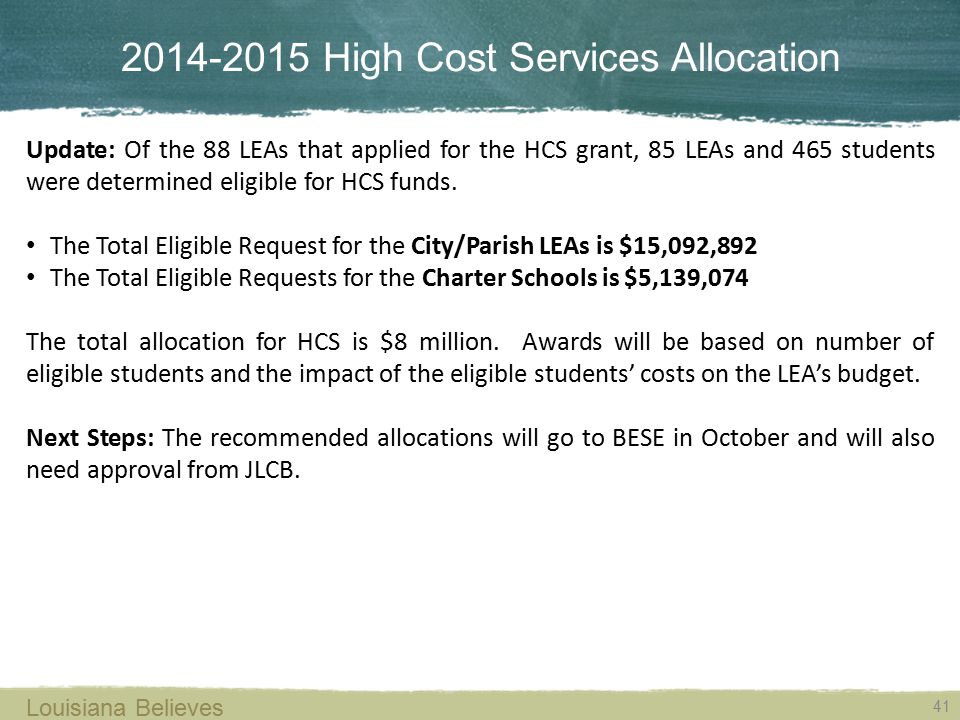 2014-2015 High Cost Services Allocation