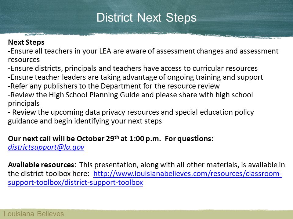 District Next Steps