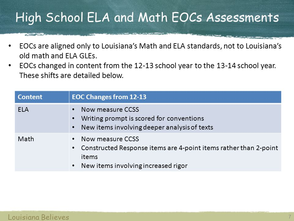 High School ELA and Math EOCs Assessments