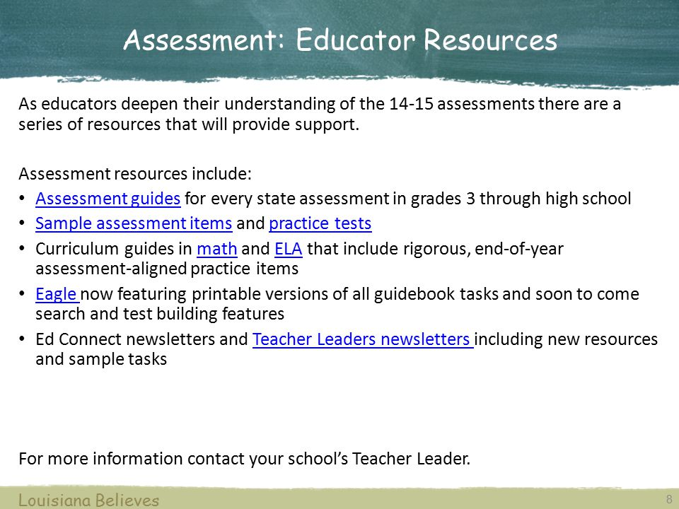 Assessment: Educator Resources
