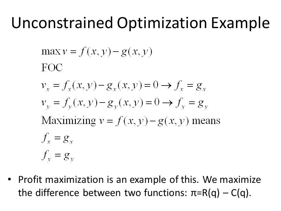Unconstrained Optimization Example