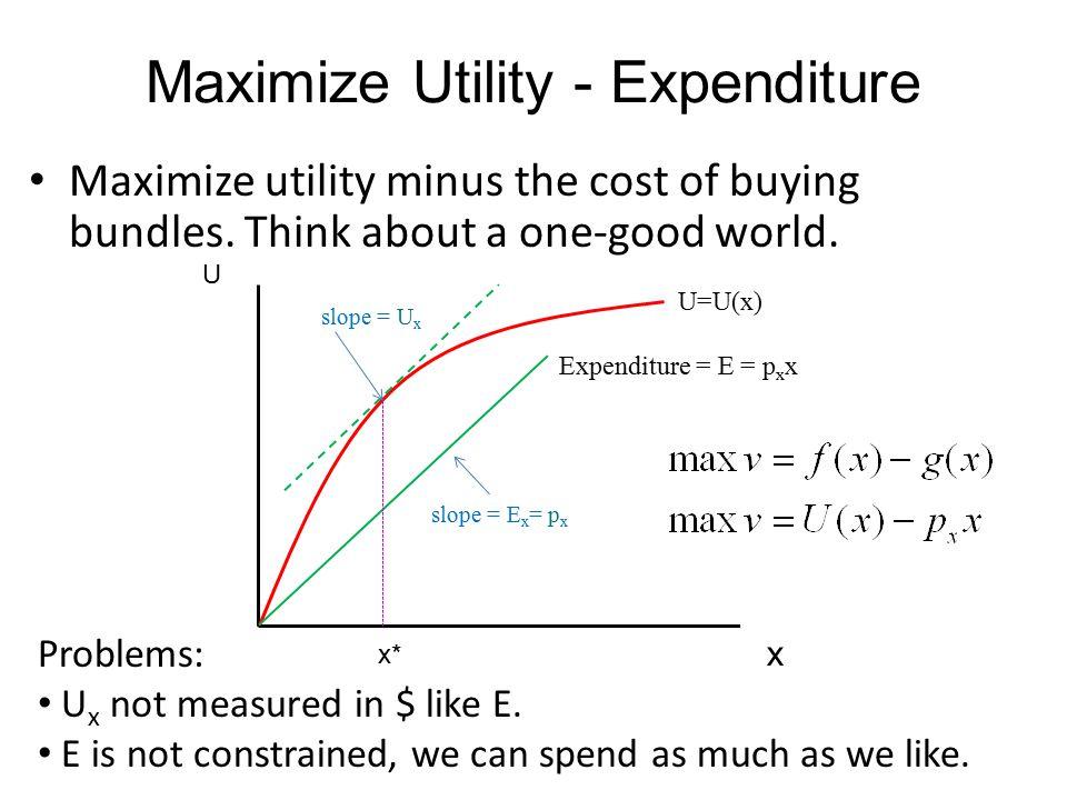 Maximize Utility - Expenditure