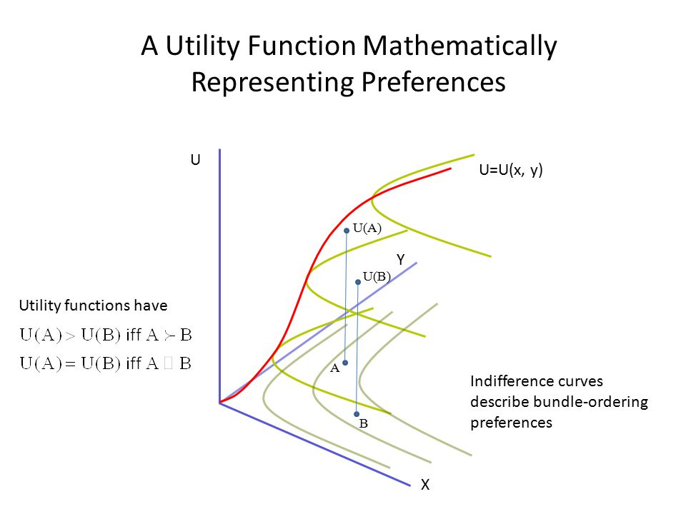 A Utility Function Mathematically Representing Preferences