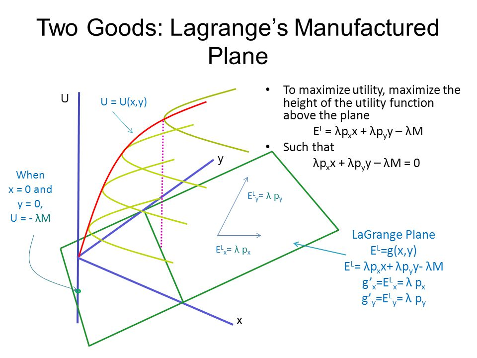 Two Goods: Lagrange's Manufactured Plane