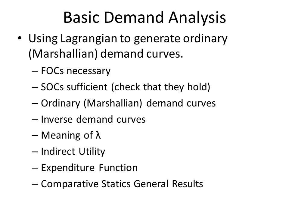 Basic Demand Analysis Using Lagrangian to generate ordinary (Marshallian) demand curves. FOCs necessary.