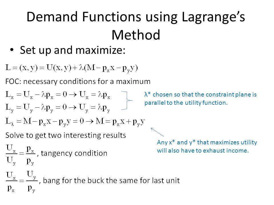 Demand Functions using Lagrange's Method