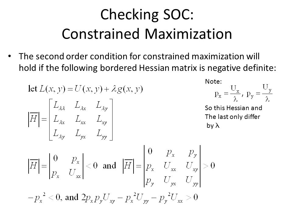 Checking SOC: Constrained Maximization