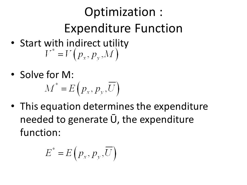 Optimization : Expenditure Function