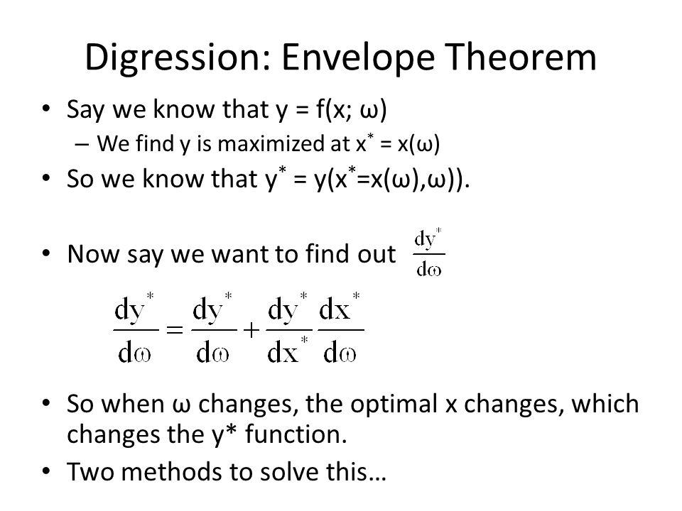 Digression: Envelope Theorem