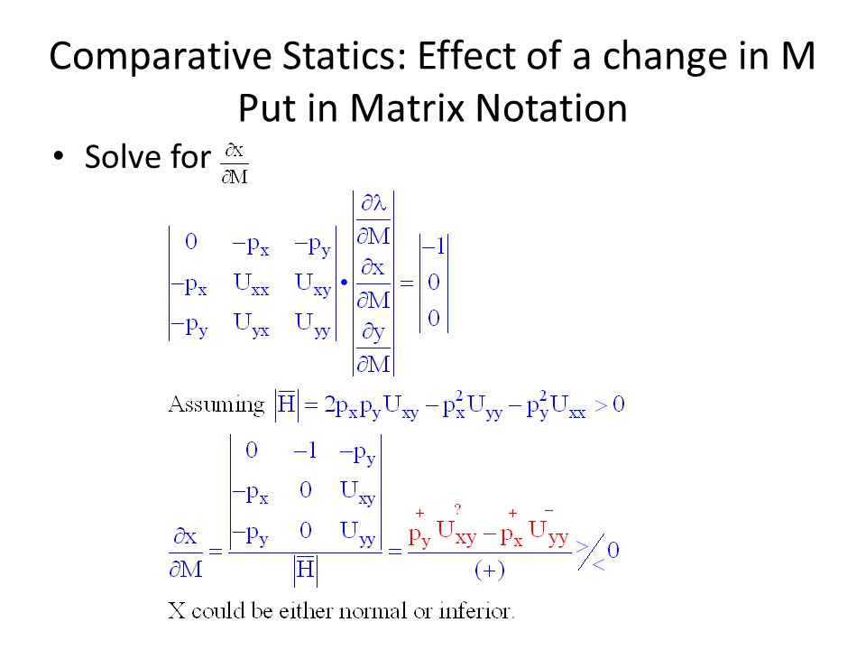 Comparative Statics: Effect of a change in M Put in Matrix Notation
