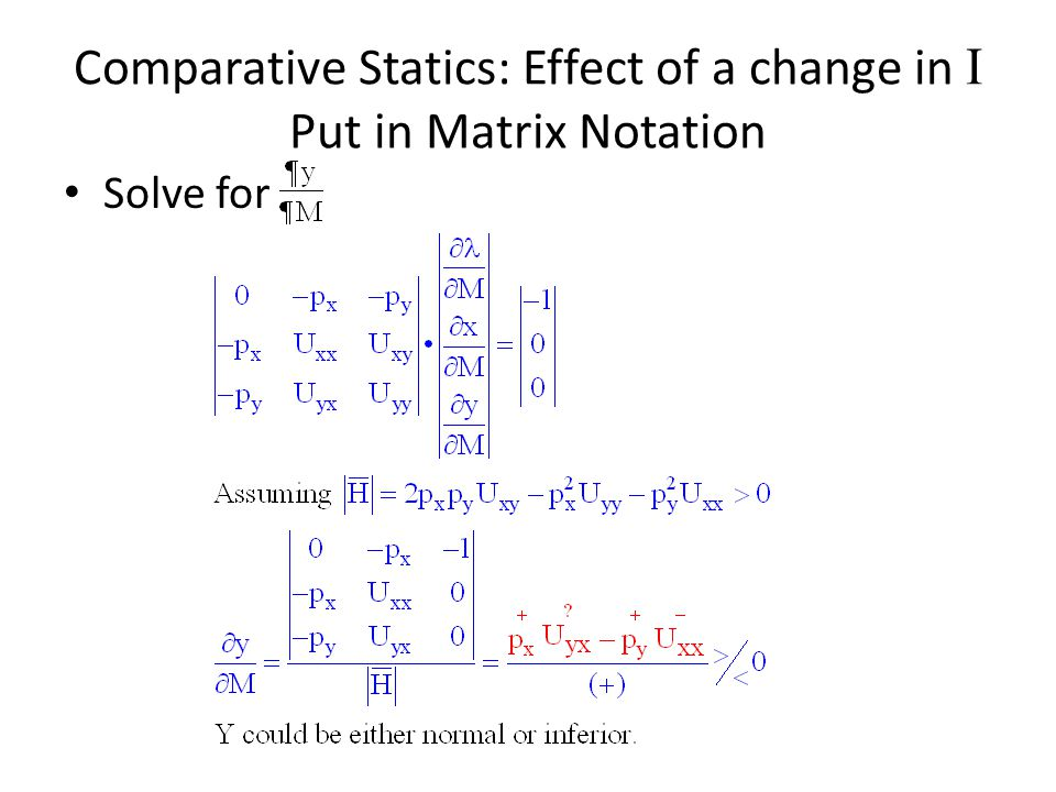 Comparative Statics: Effect of a change in I Put in Matrix Notation
