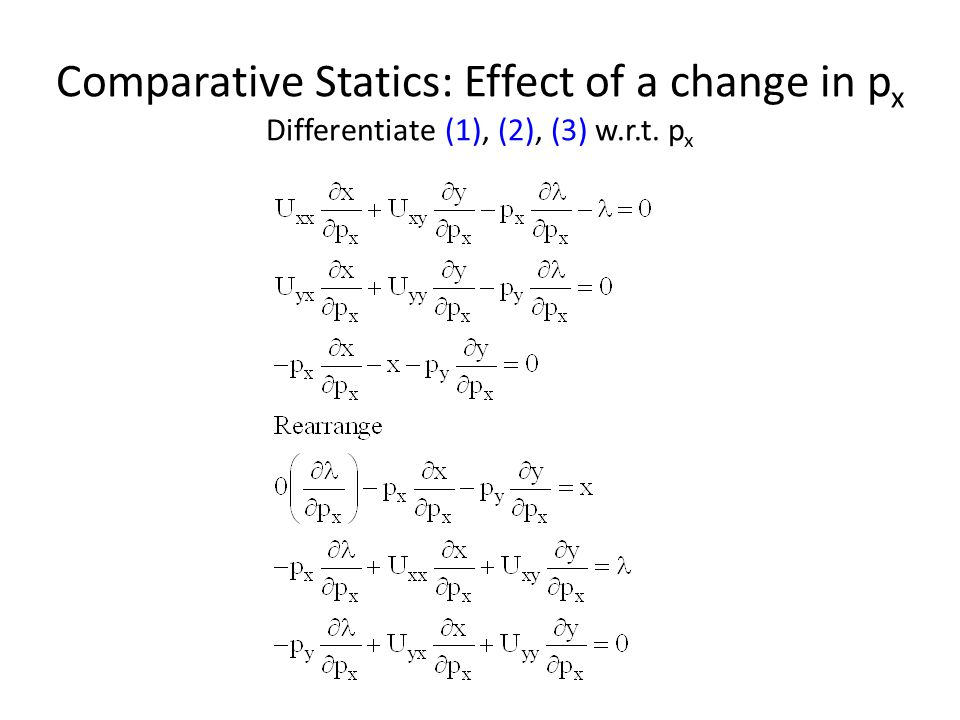 Comparative Statics: Effect of a change in px Differentiate (1), (2), (3) w.r.t. px