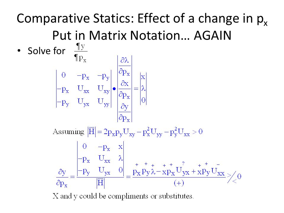 Comparative Statics: Effect of a change in px Put in Matrix Notation… AGAIN