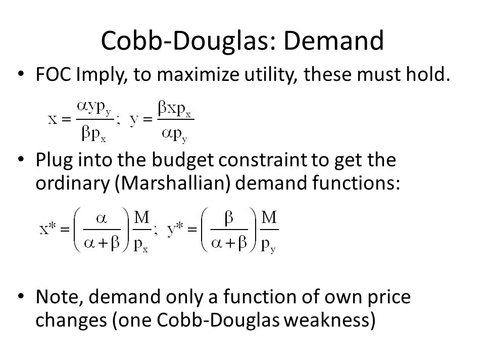 Cobb-Douglas: Demand FOC Imply, to maximize utility, these must hold.