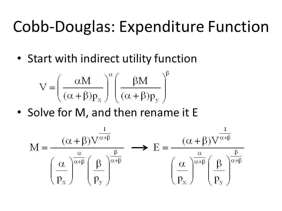 Cobb-Douglas: Expenditure Function