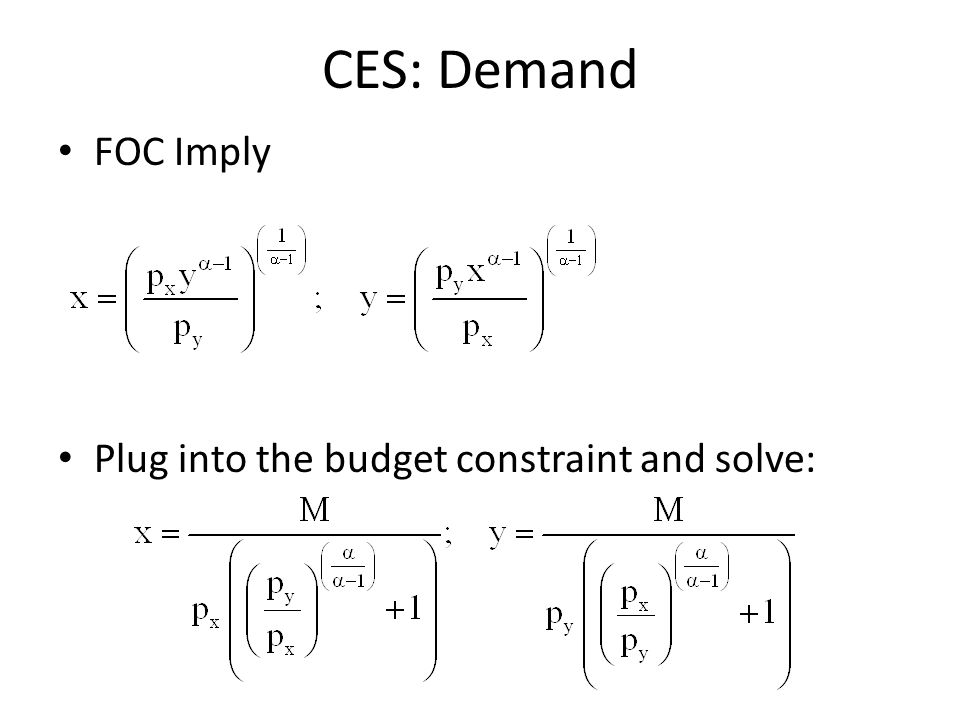 CES: Demand FOC Imply Plug into the budget constraint and solve: