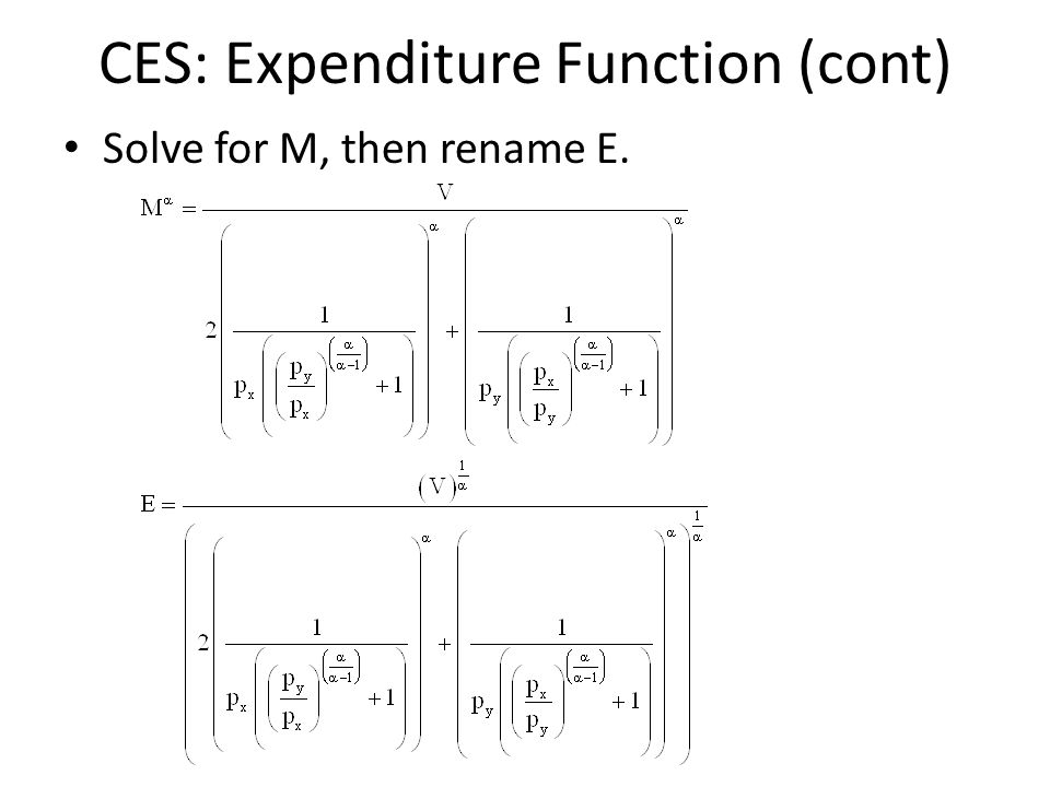 CES: Expenditure Function (cont)