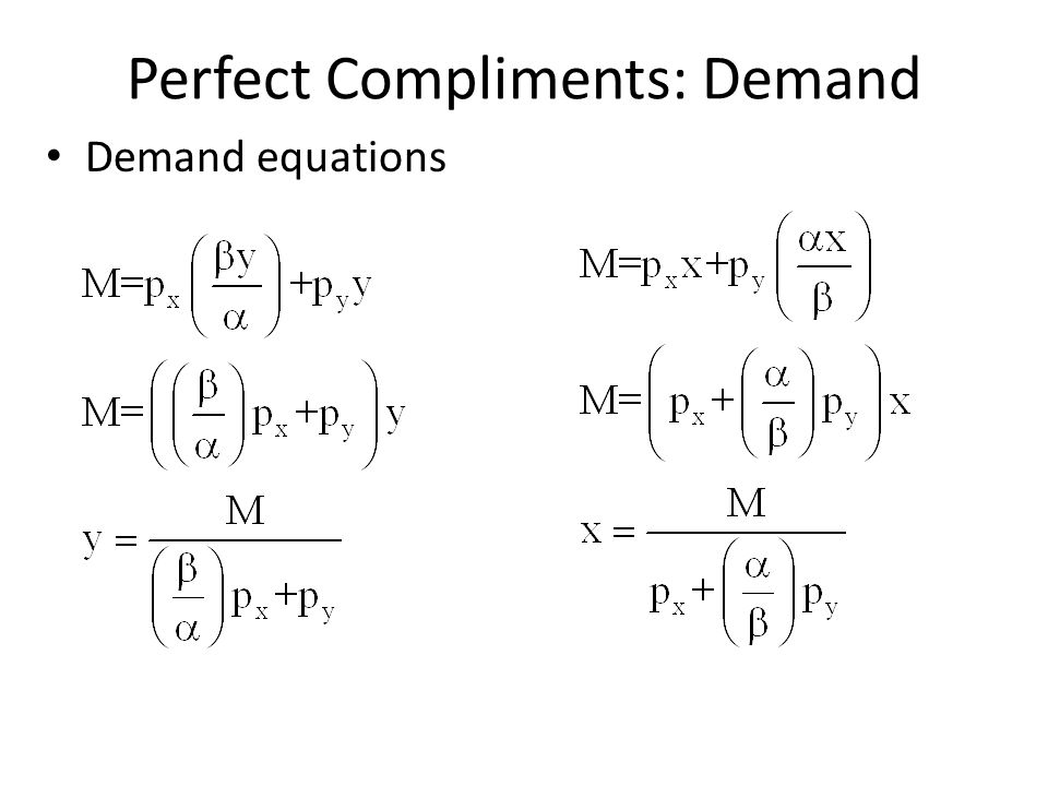 Perfect Compliments: Demand