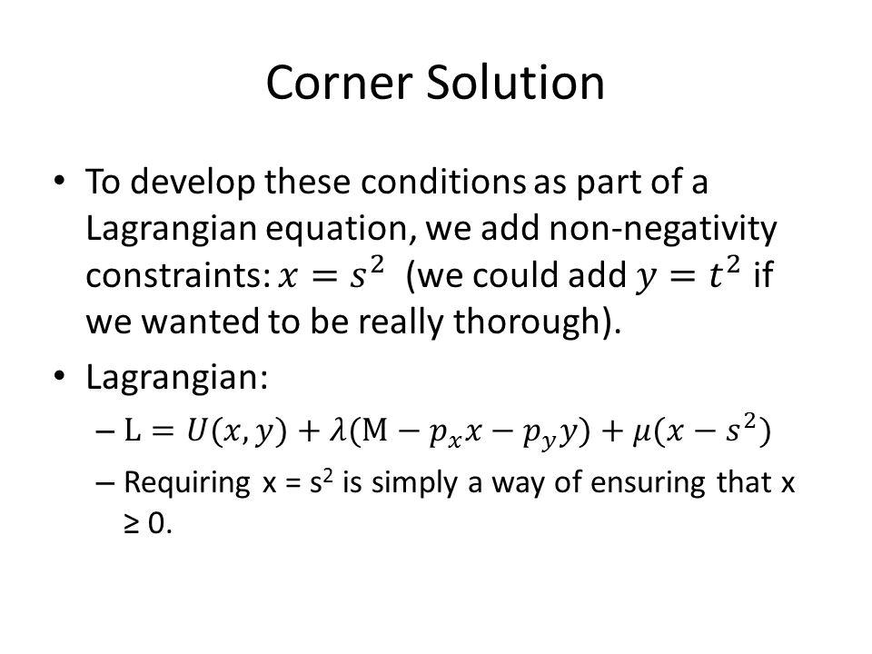 Corner Solution