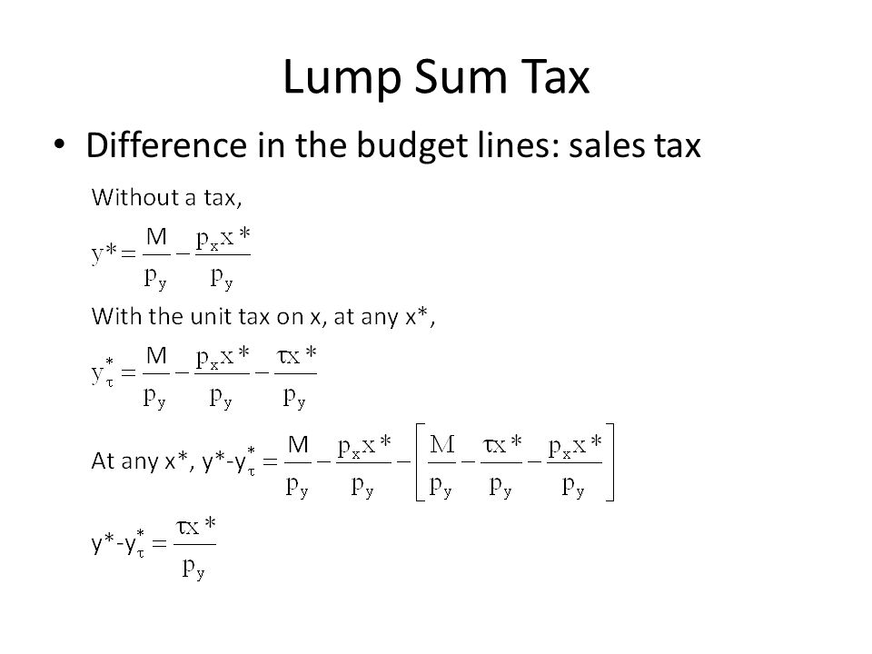 Lump Sum Tax Difference in the budget lines: sales tax
