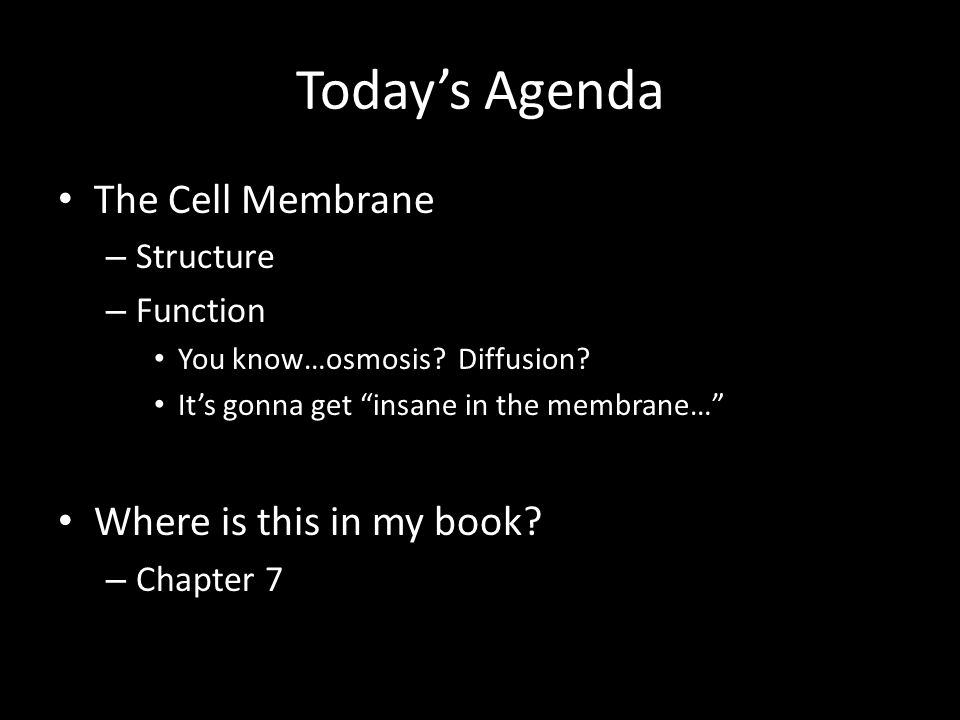 Today's Agenda The Cell Membrane Where is this in my book Structure