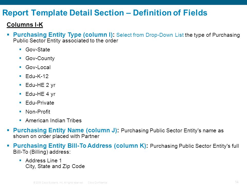 Report Template Detail Section – Definition of Fields