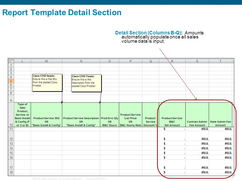 Report Template Detail Section