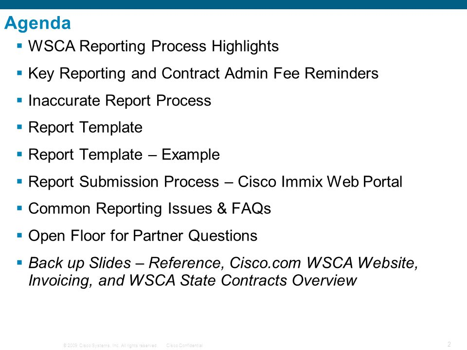 Agenda WSCA Reporting Process Highlights
