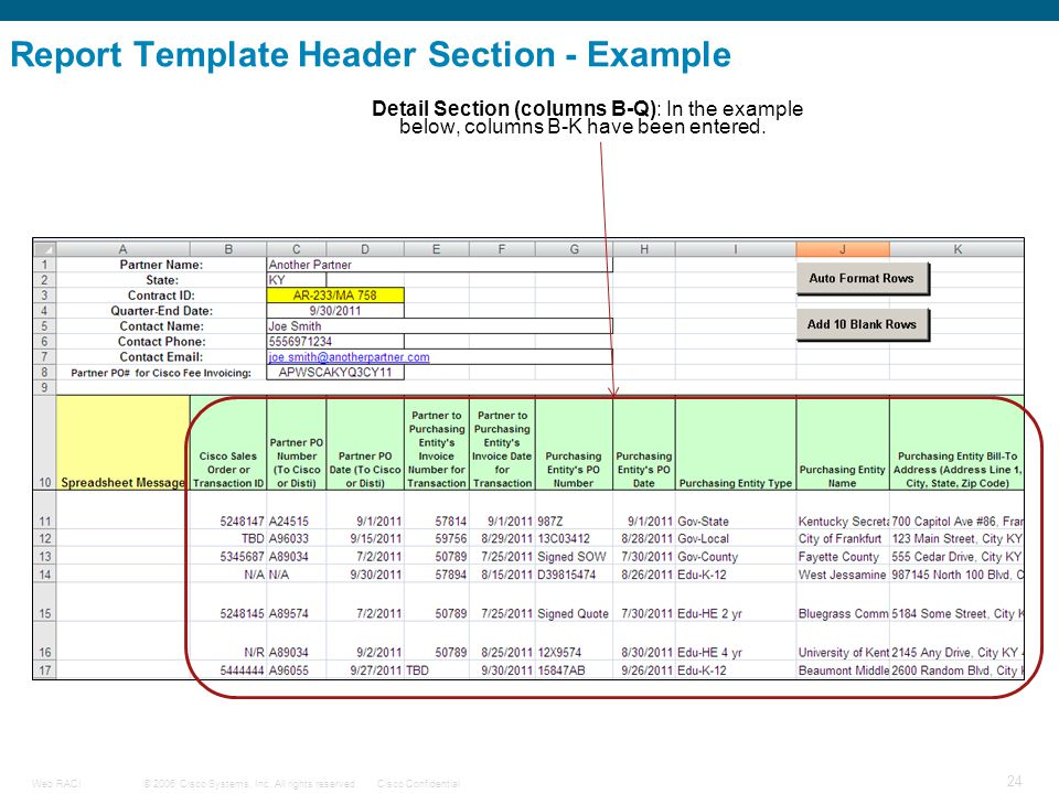 Report Template Header Section - Example